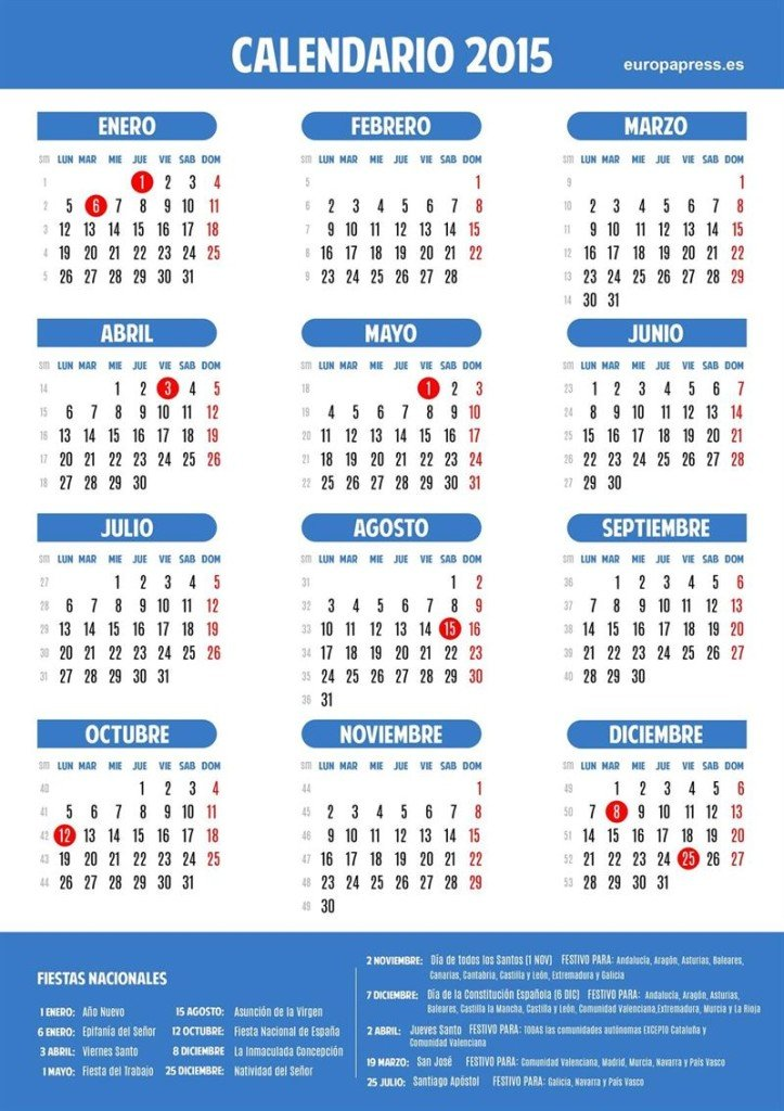 Empleo calendario laboral 2015 empleo for Calendario eventos madrid