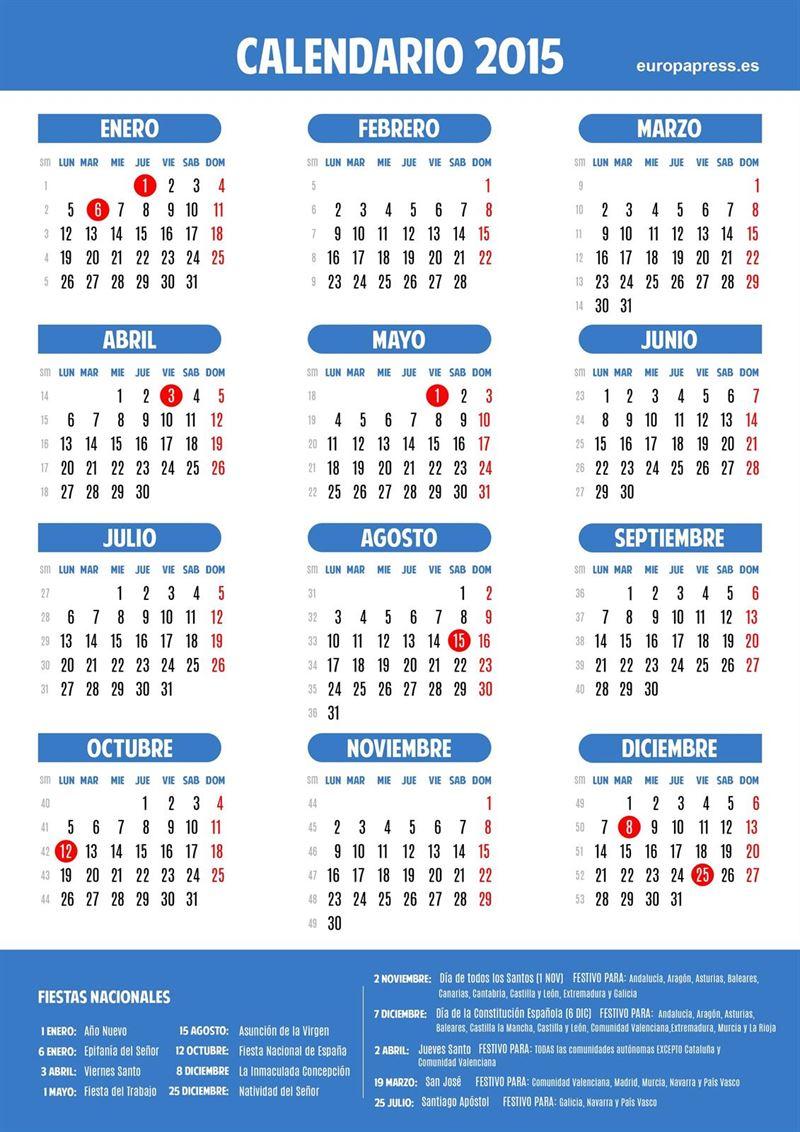 Calendario laboral 2015 empleo for Calendario 2015 ministerio del interior