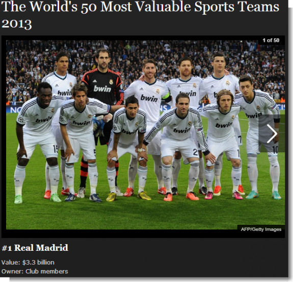 #1 Real Madrid - In Photos  The World's 50 Most Valuable Sports Teams 2013 - Forbes