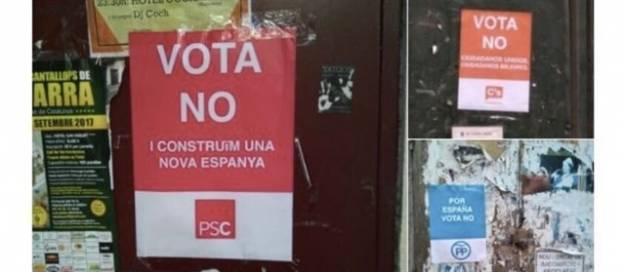 Cuelgan carteles falsos de Cs, PSC y PP a favor del 'no' en el referéndum para incentivar la participación 1