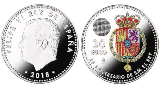 La FNMT emitirá una moneda de colección de 30 euros para conmemorar el 50 aniversario del Rey Felipe VI 1