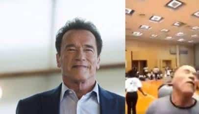 Le dan una brutal patada voladora a... Arnold Schwarzenegger,