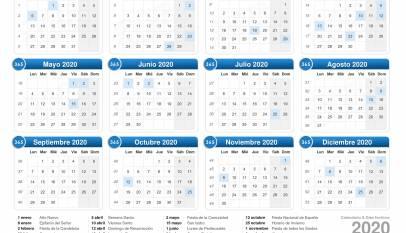 Calendario laboral 2020: días festivos y puentes