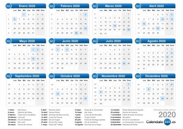 2020 Calendario Laboral.Calendario Laboral 2020 Dias Festivos Y Puentes