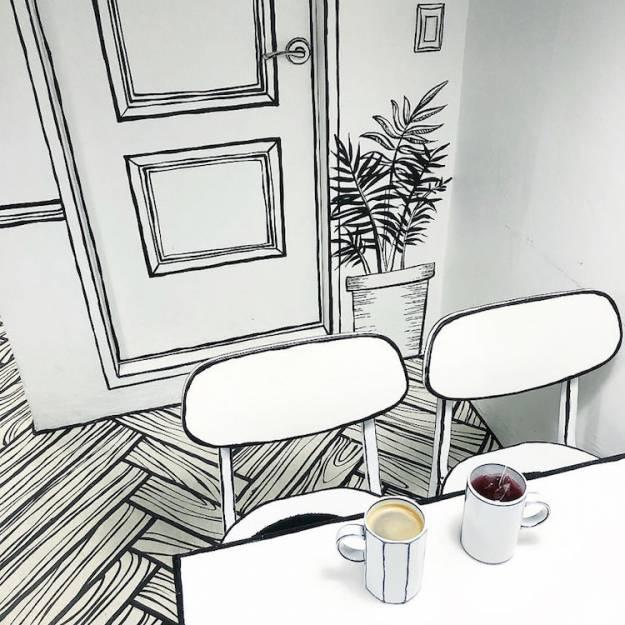 En Seul hay una cafetería que todo está dibujado