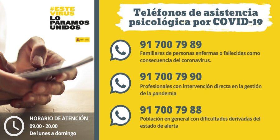Estos son los teléfonos de atención psicológica por el COVID-19 1