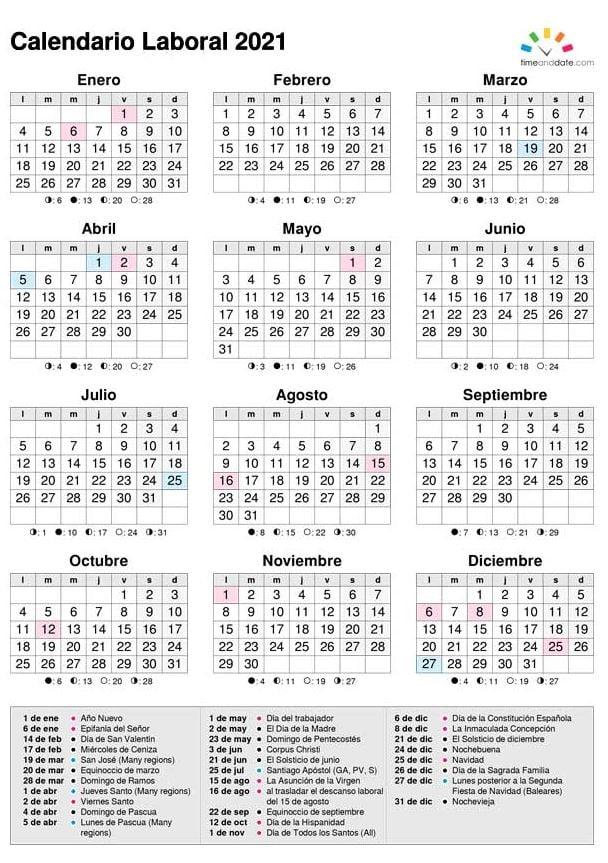 Este es el calendario laboral del 2021 1
