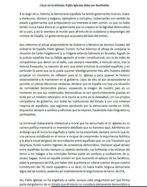 """200 Intelectuales y expolíticos de PSOE, PP y Cs piden la destitución de Iglesias en el manifiesto: """"Cesar en la infamia"""" 2"""