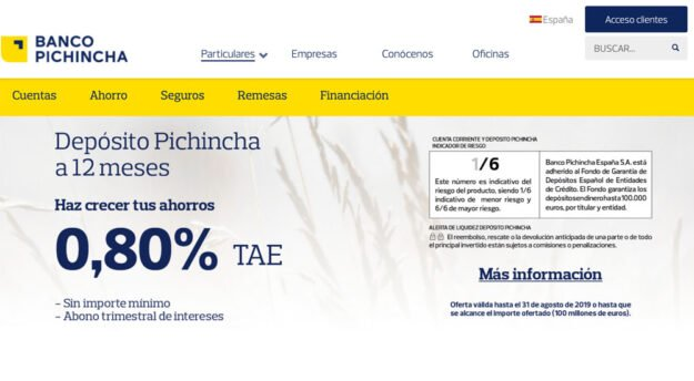 El Banco Pinchincha ofrece uno de los mejores depósitos del mercado 1
