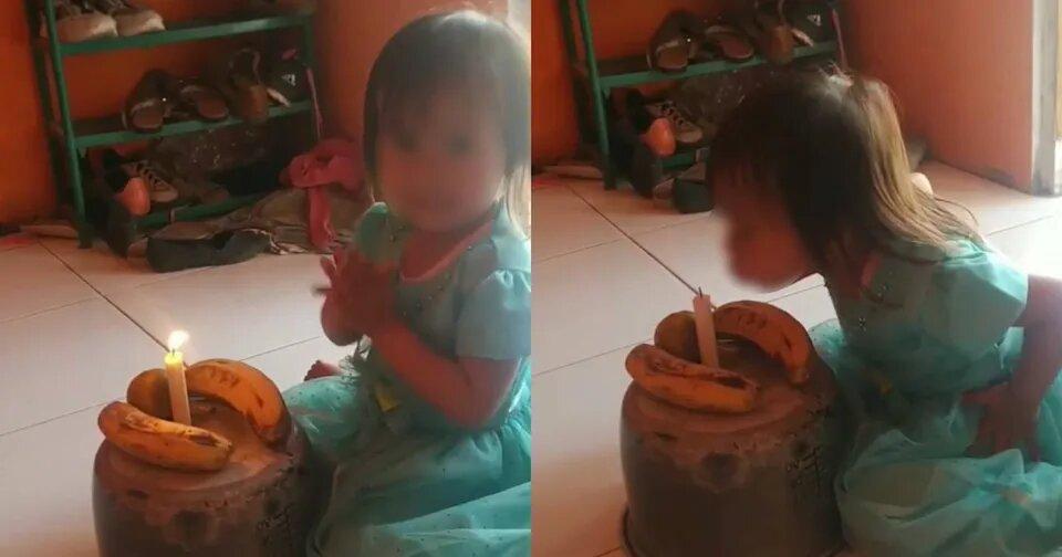 Niña se vuelve loca de alegría con una tarta improvisada ya que sus padres no tenían dinero 1