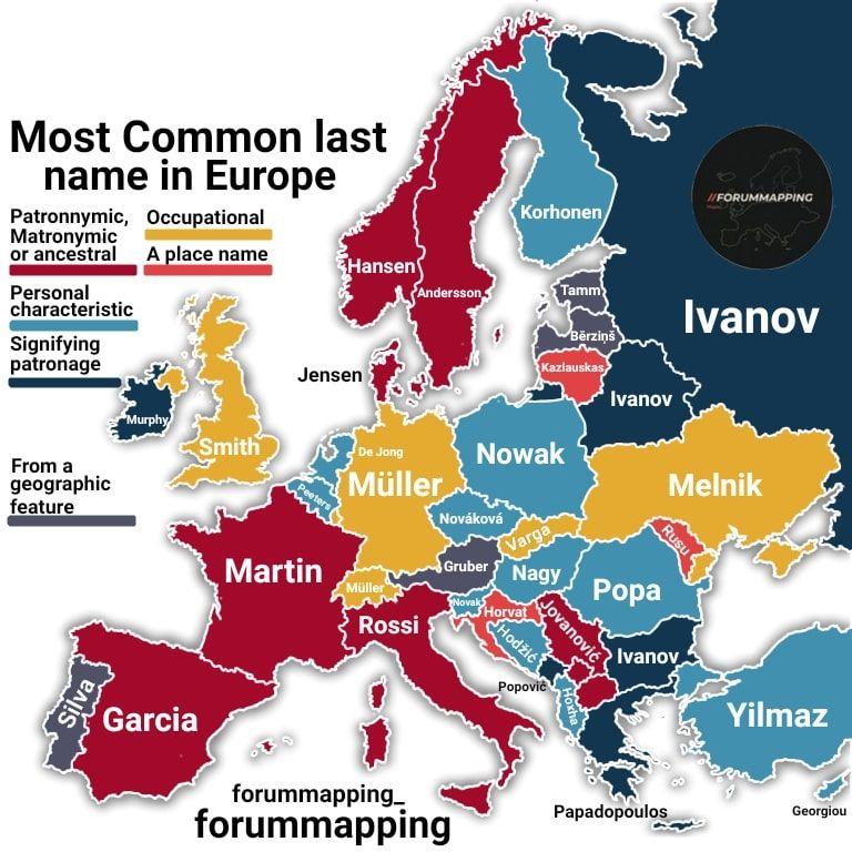 El apellido más común en cada país de Europa 1