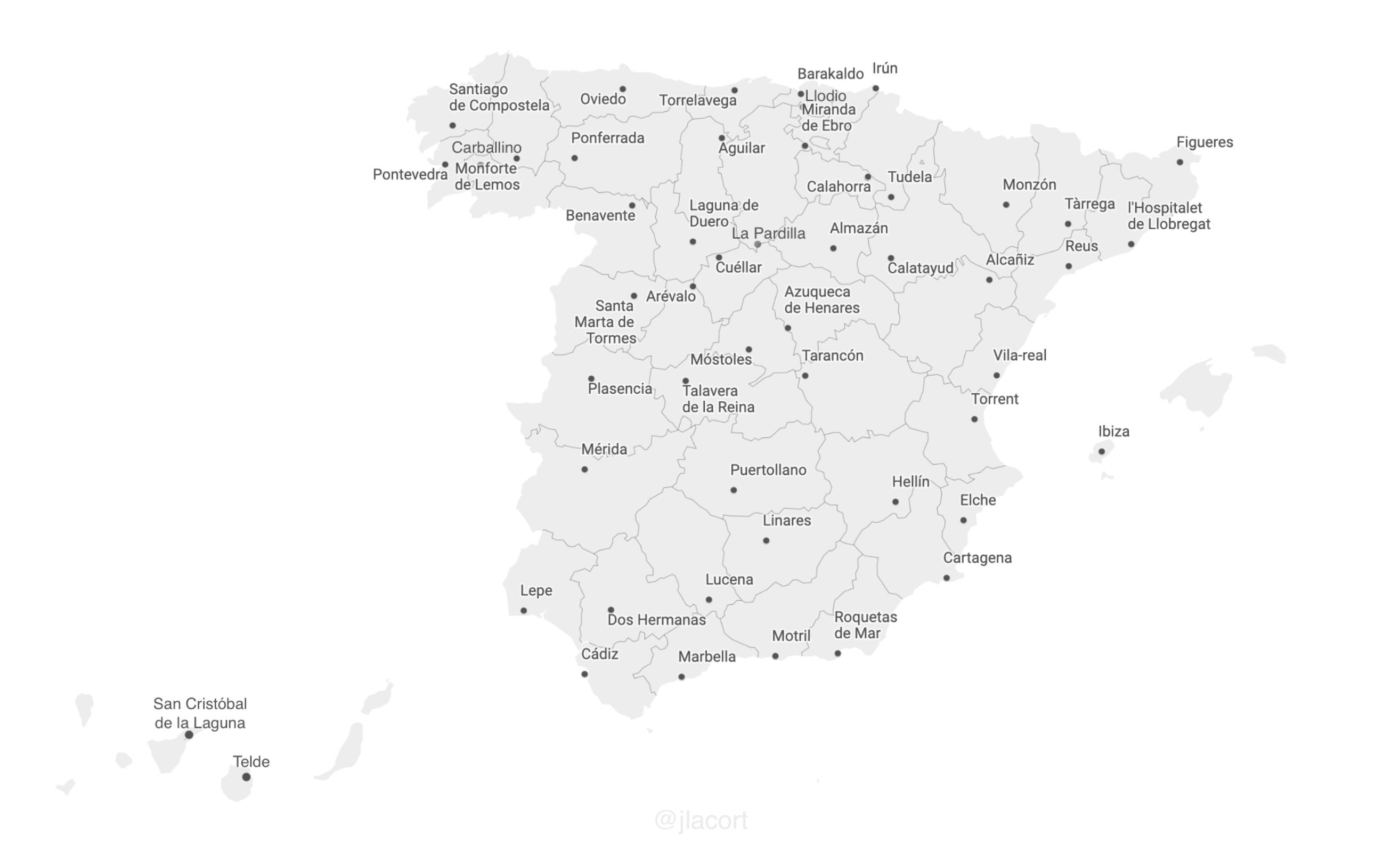 Un mapa curioso: El segundo municipio más poblado de cada provincia 1